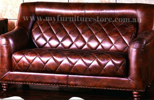 CAMPBELLA  2 SEATER   FULL LEATHER VINTAGE SOFA  - ASSORTED COLOURS