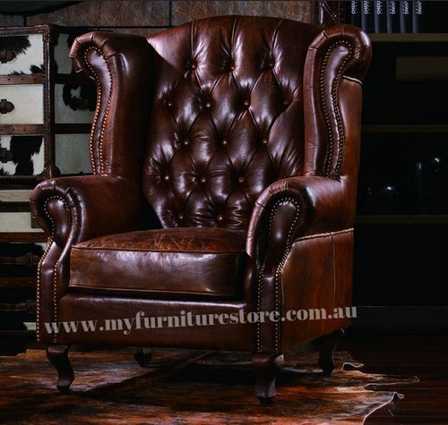 SEDRONA  SINGLE SEATER   FULL LEATHER VINTAGE SOFA CHAIR  - ASSORTED COLOURS