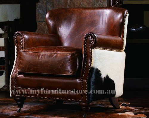 PARAGON  SINGLE SEATER  VINTAGE FULL LEATHER   CHAIR  - ASSORTED COLOURS