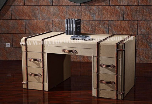 INNOCENTIA  FULL CANVASS FABRIC TABLE WITH 5 DRAWERS  -1640(W) X 960(D) - ASSORTED COLOURS