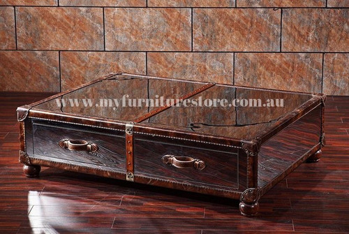 BIANCA  LEATHER +  MIRROR STEEL COFFEE TABLE WITH 2 DRAWERS   - 380(H) X 1330(W) X 1060(D) - ASSORTED COLOURS