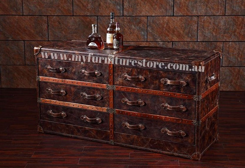 BESTABELA FULL LEATHER CHEST WITH 6 DRAWERS  - ASSORTED COLOURS