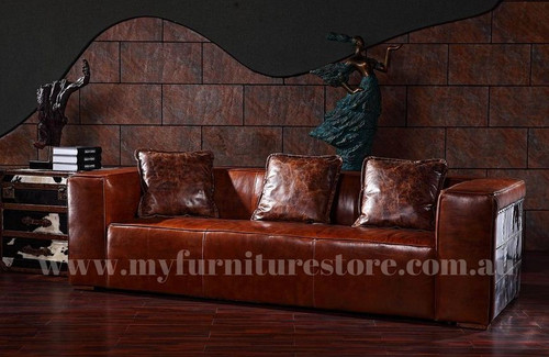 MORRISON 3 SEATER   FULL LEATHER VINTAGE SOFA  - ASSORTED COLOURS