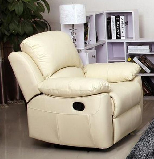 MAPUTO SINGLE  LEATHER RECLINER  CHAIR (MODEL-V-1706 -1-I)   -  IVORY