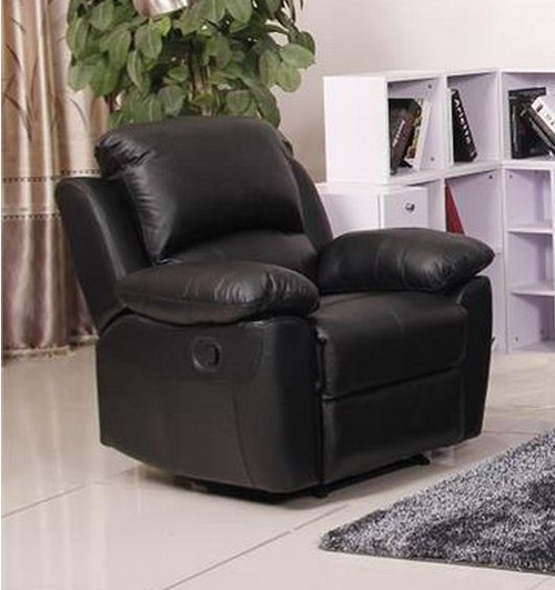 MAPUTO SINGLE  LEATHER RECLINER  CHAIR (MODEL-V-1706 -1-BLK)   - BLACK