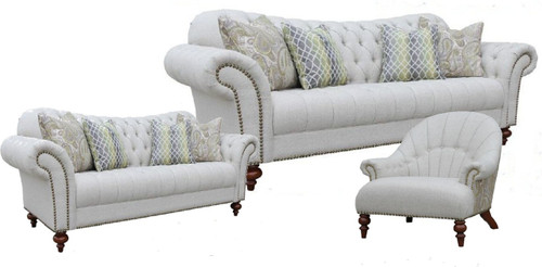 HAMAN  3S + 2S  + ARM CHAIR FABRIC LOUNGE SUITE - (MODEL - 12-15-21-9-19-91-14-1) AS PICTURED