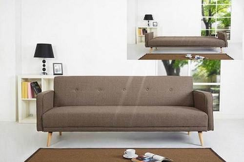 SMART CLICK CLACK FABRIC SOFA BED - BROWN