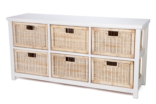 RATTAN STORAGE WITH 6 DRAWERS (HORIZONTAL) - (RDB786/H) - WHITE / NATURAL