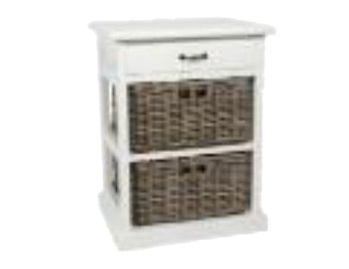 KUBU STORAGE WITH 2 BASKETS / 1 WOODEN DRAWER - WHITE