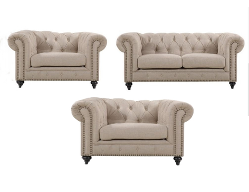 SOLOMONIA  3S + 1 +1  ARMCHAIR UPHOLSTERED FABRIC LOUNGE SUITE - (MODEL - 3-8-5-18-19-5-18-6-9-5-12-4) AS PICTURED