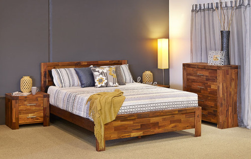 PHILLIPE DOUBLE OR QUEEN 4 PIECE TALLBOY  BEDROOM SUITE - ACACIA