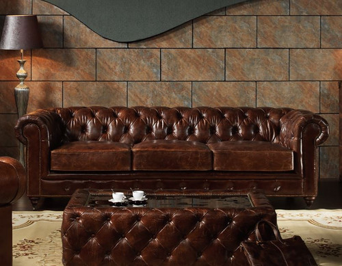 BONJOUR SAMAR  3 SEATER  VINTAGE FULL LEATHER LOUNGE SUITE (EXCLUDING COFFEE TABLE) - ASSORTED COLOUR