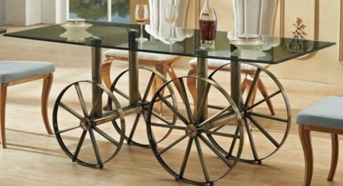 BOSS GLASS DINING TABLE 1800(W) x 900(D) -  (MODEL-3-15-1-3-8) - AS PICTURED