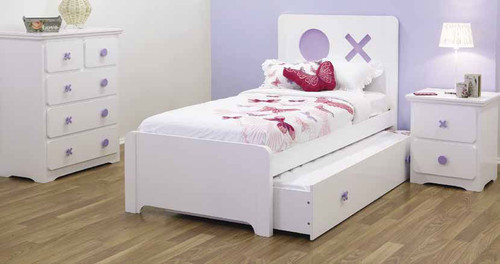 TIC-TAC-TOE SINGLE  3 PIECE  BEDROOM SUITE WITH SINGLE TRUNDLE BED - SNOW / BLUE OR SNOW / LILAC
