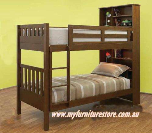 SINGLE MAYDEN BUNK BED (MODEL 13-5-18-12-9-14) - WALNUT