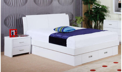 QUEEN MELINDA BED WITH GAS LIFT (MODEL 13-15-19-13-1-14)  - HIGH GLOSS WHITE