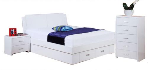 MELINDA  KING  4 PIECE TALLBOY BEDROOM SUITE   (MODEL 13-15-19-13-1-14)  - HIGH GLOSS WHITE
