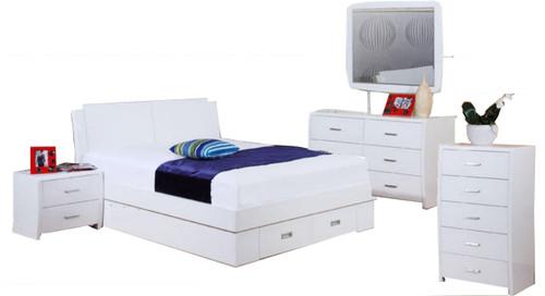 MELINDA  DOUBLE OR QUEEN 6 PIECE THE LOT BEDROOM SUITE  -  (MODEL 13-15-19-13-1-14)  - HI GLOSS WHITE