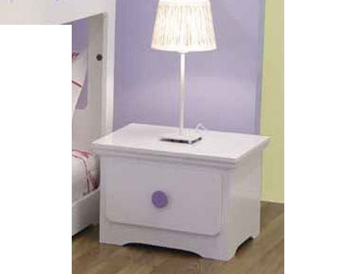 TIC-TAC-TOE 1 DRAWER BEDSIDE TABLE - SNOW / BLUE OR SNOW / LILAC