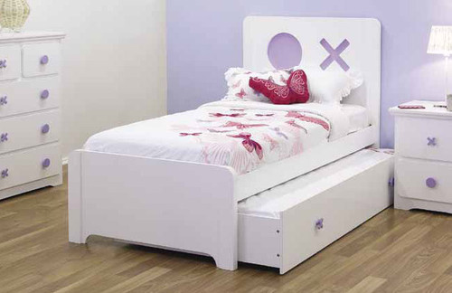 SINGLE TIC-TAC-TOE BED WITH SINGLE TRUNDLE BED - SNOW / BLUE OR SNOW / LILAC