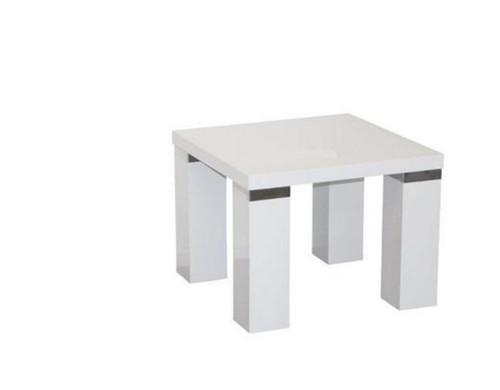 WAVERLEY SQUARE LAMP TABLE WITH CHUNKY LEG & CHROME TRIM  -  HI GLOSS WHITE