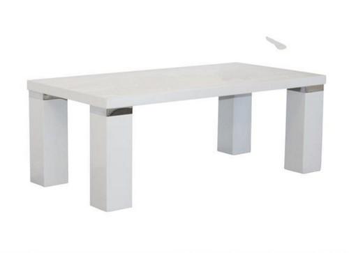 WAVERLEY COFFEE TABLE WITH CHUNKY  LEG & CHROME TRIM  -  HI GLOSS WHITE