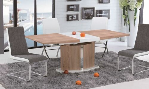 MARINO (OST0001) 9 PIECE  EXTENSION DINING SETTING  (1600MM - 2000MM )  -  OAK / WHITE