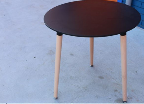 NARIO  (OST-7) ROUND WOOD LEGS TABLE - BLACK OR WHITE
