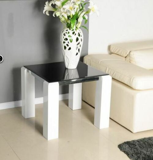 KINGSTON SQUARE LAMP TABLE 630MM  x 630MM -  GLOSS WHITE