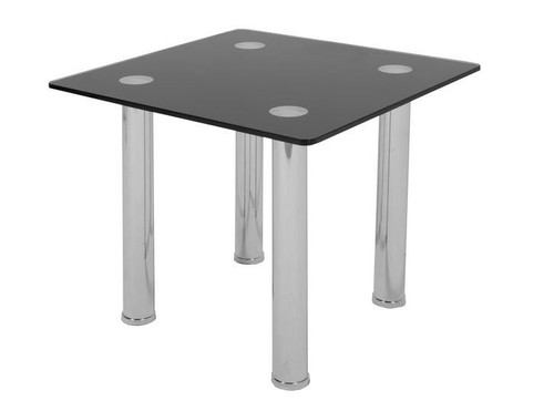 GALIO  SQUARE LAMP TABLE 600MM  x 600MM -  BLACK OR CLEAR GLASS
