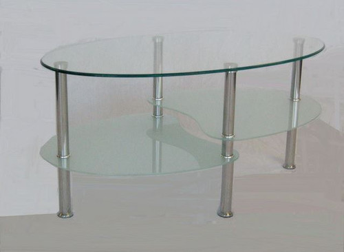 PETRA GLASS COFFEE TABLE - CLEAR / BLACK GLASS OR CLEAR / SANDBLAST