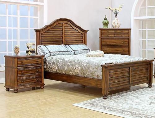 JORDAN  QUEEN  3 PIECE  BEDSIDE   BEDROOM SUITE (MODEL - 8212) - BROWN