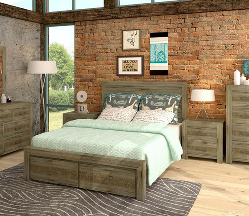 YARRA (VYR-003) QUEEN 3 PIECE BEDSIDE BEDROOM SUITE WITH STORAGE DRAWERS - MOCCHA