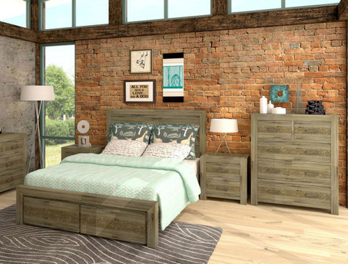 YARRA (VYR-003) QUEEN 4 PIECE TALLBOY BEDROOM SUITE WITH STORAGE DRAWERS - MOCCHA