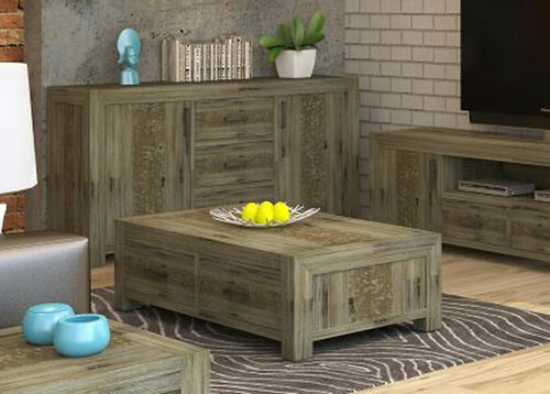 YARRA COFFEE TABLE (VYR-018) WITH 2 DRAWERS -380(H) X 1300(W) X 700(D) - MOCCHA