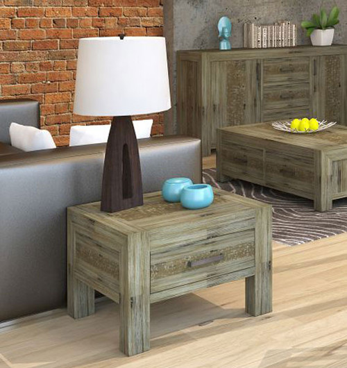 YARRA LAMP TABLE (VYR-019) WITH 1 DRAWER - MOCCHA