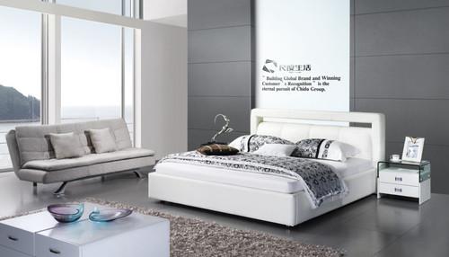 SANTIAGO  QUEEN 3 PIECE    LEATHER + PVC BEDSIDE BEDROOM SUITE  (MODEL -3021) - ASSORTED COLOURS