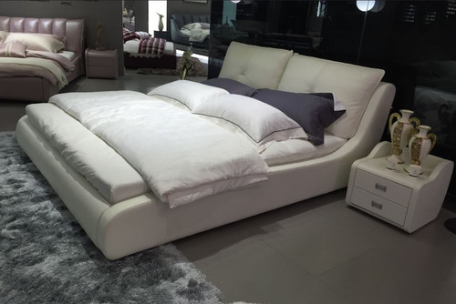QUEEN HAYDEN LEATHER + PVC BED (MODEL -A9507) -  WITH GAS LIFT UNDERBED OPTION AVAILABLE - ASSORTED COLOURS
