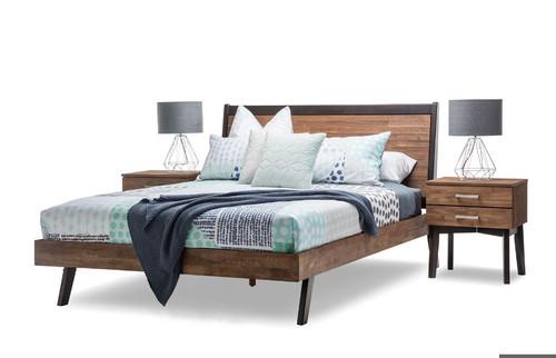 MARTINEZ DOUBLE OR  QUEEN  3 PIECE  BEDSIDE BEDROOM SUITE  (19-5-12-5-14-1 ) - CARAMEL & BROWN