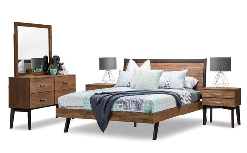 MARTINEZ DOUBLE OR  QUEEN  5 PIECE  DRESSER  BEDROOM SUITE  (19-5-12-5-14-1 ) - CARAMEL & BROWN