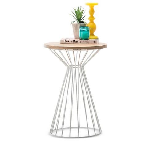 KORE ROUND SIDE  TABLE  (6-1-2-9-1-14-15) - LIGHT OAK  / WHITE