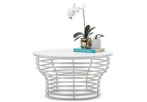 LUCIANO  ROUND COFFEE TABLE  -  WHITE