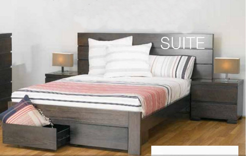QUEEN  BENSON  BED WITH 2 FOOTEND DRAWERS - SMOKE