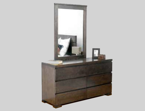 BENSON 6 DRAWER DRESSING TABLE & MIRROR - SMOKE