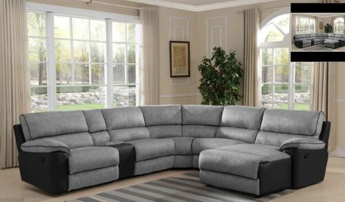 STIRLING   5 SEATER CORNER WITH RECLINING CHAISE  -  LIGHT GREY / DARK CHOCOLATE