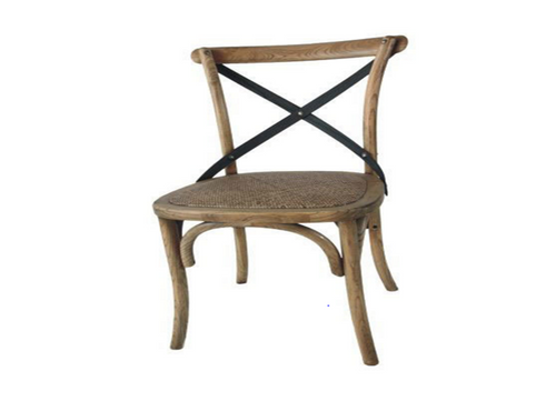METAL (VCH-888) CROSS BACK DINING CHAIR - OAK