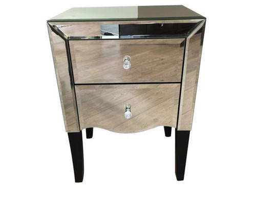 ARTHUR  2  DRAWER MIRROR  BEDSIDE TABLE (16-18-15-22-9-14-3-9-1-12)  -SILVER