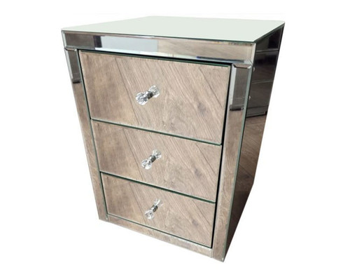 PRIME MIRRORED 3 DRAWER BEDSIDE TABLE (16-1-18-9-19)  - SILVER CLEAR