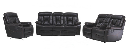 MARINA 3RR+2RR+1R LEATHER RECLINER SUITE - BLACK OR CHOCOLATE