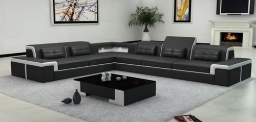 NAMBADA 6 SEATER BONDED LEATHER CHAISE LOUNGE SUITE WITH MATCHING COFFEE TABLE ( MODEL- G1098) - CHOICE OF LEATHER AND ASSORTED COLOURS AVAILABLE